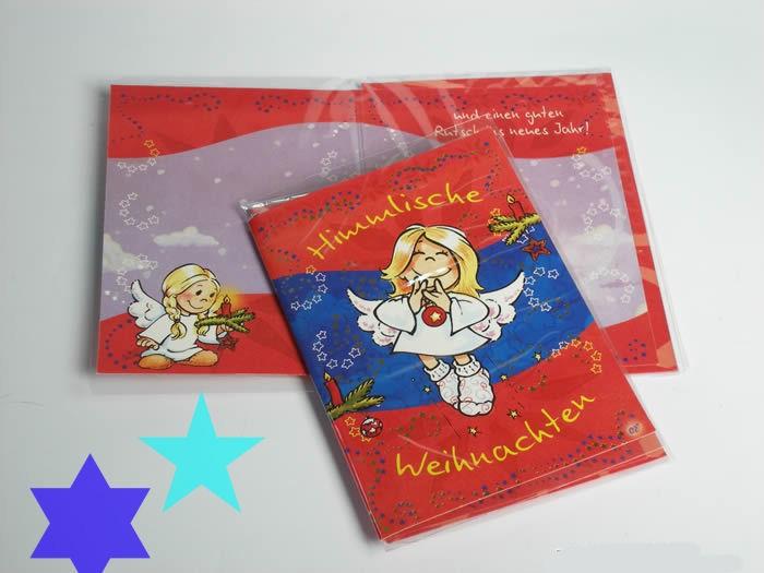 Schutzengel - Weihnachtskarte rot