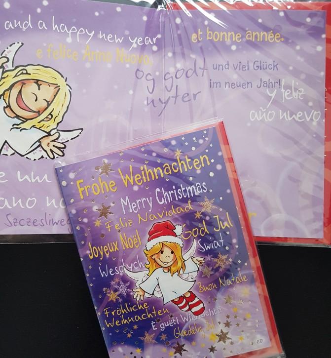 Schutzengel - Weihnachtskarte lila