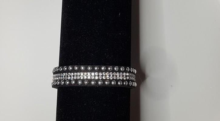 MS - Armband schwarz Nieten/Strass