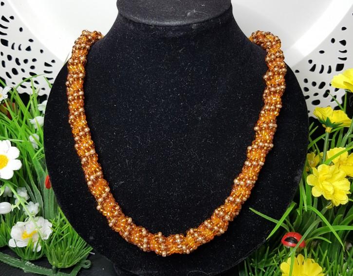HM - Perlkette orange/braun/gold
