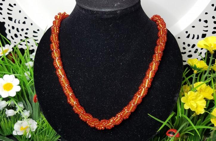 HM - Perlkette rot/gold