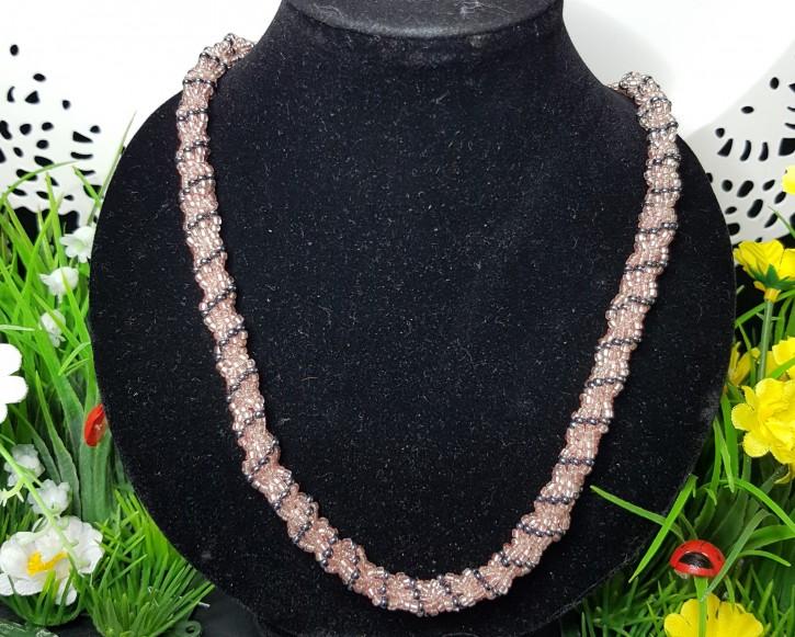 HM - Perlkette rosa/grau