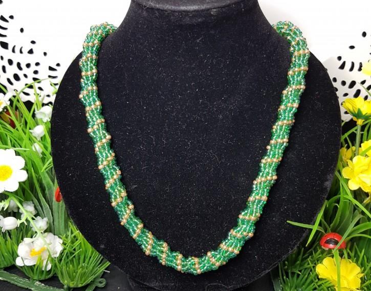 HM - Perlkette grün/gold