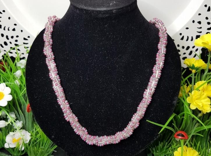 HM - Perlkette rosa/silber