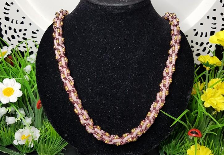 HM - Perlkette rosa/aubergine/gold