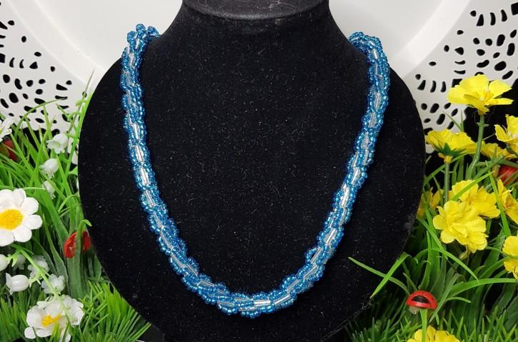 HM - Perlkette blau/silber