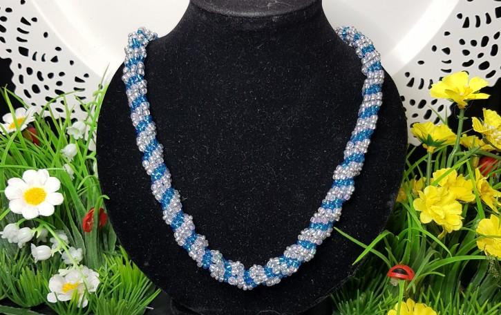 HM - Perlkette blau/weiss/silber
